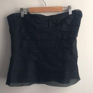 Diane von Furstenberg black silk chiffon layer top